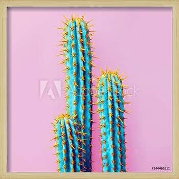 Gerahmte Poster  Set Neon Cactus. Minimal creative stillife