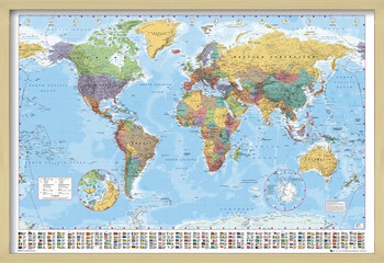 Gerahmte Poster World Map - Political