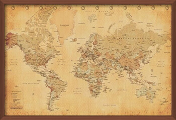 Gerahmte Poster World Map - Antique Style