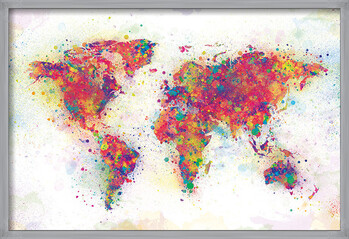 Gerahmte Poster World Map - Colour Splash