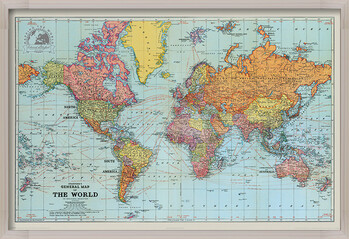 Gerahmte Poster Stanfords General Map Of The World - Colour