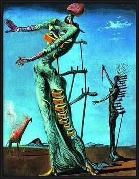 Gerahmte Poster Salvador Dali - Girafe En Feu