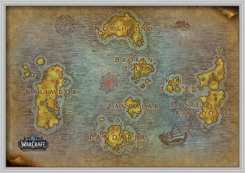 Gerahmte Poster World Of Warcraft - Map
