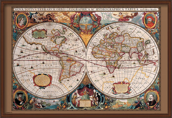 Gerahmte Poster World Map - 17th Century